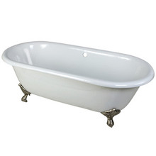 """Kingston Brass 66"""" Cast Iron Double Ended Clawfoot Bathtub w/o Faucet Drillings - White With Satin Nickel Tub Feet"""