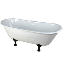 """Kingston Brass 67"""" Cast Iron Double Slipper Clawfoot Bathtub & 7"""" Centers Faucet Drillings - White With Oil Rubbed Bronze Tub Feet"""
