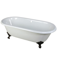 """Kingston Brass 66"""" Cast Iron Double Ended Clawfoot Bathtub w/o Faucet Drillings - White With Oil Rubbed Bronze Tub Feet"""