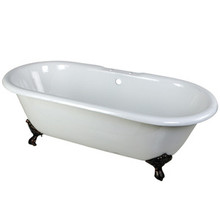 """Kingston Brass 66"""" Cast Iron Double Ended Clawfoot Bathtub & 7"""" Centers Faucet Drillings - White With Oil Rubbed Bronze Tub Feet"""