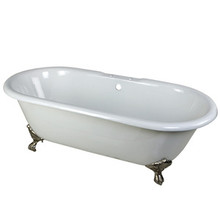 """Kingston Brass 66"""" Cast Iron Double Ended Clawfoot Bathtub & 7"""" Centers Faucet Drillings - White With Satin Nickel Tub Feet"""