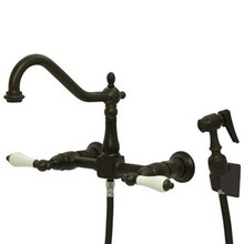 Kingston Brass Two Handle Widespread Wall Mount Kitchen Faucet & Side Spray - Oil Rubbed Bronze KS1245PLBS