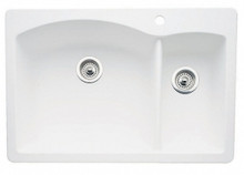 "Blanco Diamond 440200 Drop In or Undermount 33"" x 22"" Double Bowl Single Hole Silgranit Kitchen Sink - White"