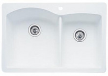 "Blanco Diamond 440216 Drop In or Undermount 33"" x 22"" Double Bowl Single Hole Silgranit Kitchen Sink - White"