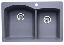"Blanco Diamond 440214 Drop In or Undermount 33"" x 22"" Double Bowl Single Hole Silgranit Kitchen Sink - Metallic Gray"