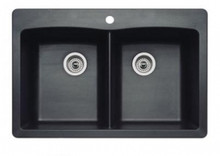"Blanco Diamond 440220 Drop In or Undermount 33"" x 22"" Double Bowl Single Hole Silgranit Kitchen Sink - Anthracite"