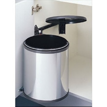 Richelieu 3720140 Under Cabinet Waste Bin with Lid - 5.28 gal. - Chrome Metal