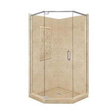 """American Bath P21-2112P 48""""L X 34""""W Supreme Neo Angle Shower Package & Accessories - Includes Pan, Walls, and Glass"""