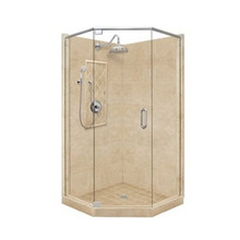 """American Bath P21-2025P 42""""L X 42""""W Grand Neo Angle Shower Unit & Accessories - Includes Pan, Walls, Glass, and Faucet"""