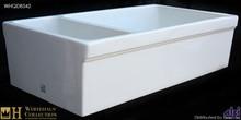 """Whitehaus WHQDB542 White 36"""" Quatro Alcove Double Bowl Reversible Fireclay Farmhouse Kitchen Sink  - White"""