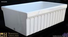 "Whitehaus WHQ330 White 30"" Quatro Alcove Reversible Fireclay Kitchen Sink - Fluted Front Apron  - White"