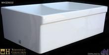 """Whitehaus WHQDB532 White 33"""" Double Bowl Reversible Fireclay Farmhouse Kitchen Sink With Lip  - White"""