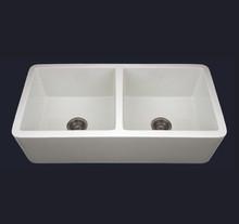 Whitehaus WH3719 37'' Duet Double Bowl Fireclay Farmhouse Kitchen Sink - White