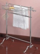 Valsan VDS 53516NI Freestanding Towel Holder with Basket-Polished Nickel
