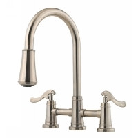 Price Pfister Ashfield LG531 - YPK Two Handle Bridge Kitchen Faucet With Pull - Down Spray - Satin Nickel