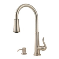 Price Pfister Ashfield GT529-YPK One Handle Kitchen Faucet with Pullout Spray & Soap Dispenser-Satin Nickel