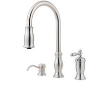 Price Pfister GT526-TMS One Handle Kitchen Faucet With Pull Down Spray & Soap Dispenser - Stainless Steel