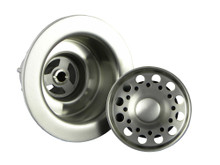 Opella 90066.046 Basket Strainer & Flange Drain Assembly  - Brushed Stainless Steel