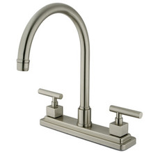 Kingston Brass Two Handle Widespread Kitchen Faucet - Satin Nickel KS8798CQLLS