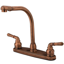 Kingston Brass Two Handle Widespread High Arch Kitchen Faucet - Vintage Copper