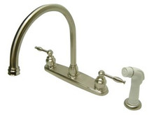 Kingston Brass Two Handle Widespread Goose Neck Kitchen Faucet - Satin Nickel