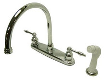 Kingston Brass Two Handle Widespread Goose Neck Kitchen Faucet - Polished Chrome