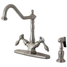 Kingston Brass Two Handle Single Hole Kitchen Faucet & Brass Side Spray - Satin Nickel
