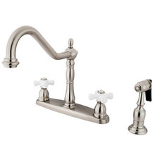 Kingston Brass Two Handle Kitchen Faucet & Brass Side Spray - Satin Nickel KB1758PXBS