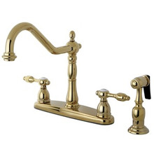 Kingston Brass Two Handle Kitchen Faucet & Brass Side Spray - Polished Brass KB1752TALBS