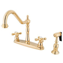 Kingston Brass Two Handle Kitchen Faucet & Brass Side Spray - Polished Brass KB1752AXBS