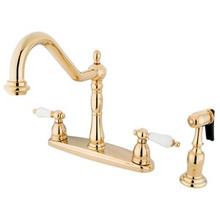 Kingston Brass Two Handle Kitchen Faucet & Brass Side Spray - Polished Brass KB1752PLBS