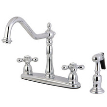 Kingston Brass Two Handle Kitchen Faucet & Brass Side Spray - Polished Chrome KB1751AXBS