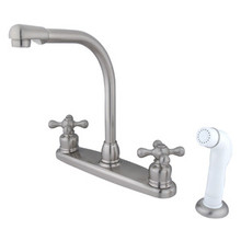 Kingston Brass Two Handle High Arch Kitchen Faucet Faucet & White Side Spray - Satin Nickel