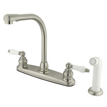 Kingston Brass Two Handle High Arch Kitchen Faucet & Non-Metallic Side Spray - Satin Nickel
