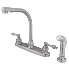 Kingston Brass Two Handle High Arch Kitchen Faucet & Non-Metallic Side Spray - Satin Nickel KB718ALSP