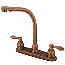 Kingston Brass Two Handle High Arch Kitchen Faucet - Vintage Copper