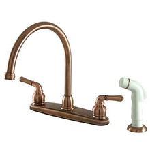 Kingston Brass Two Handle Goose Neck Kitchen Faucet & White Side Spray - Vintage Copper
