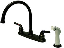 Kingston Brass Two Handle Goose Neck Kitchen Faucet & White Side Spray - Oil Rubbed Bronze