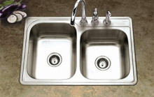 Houzer ISL-3322BS3-1 33'' x 22'' x 8'' Kitchen Sink Double Bowl - 3 Holes - Stainless  Steel