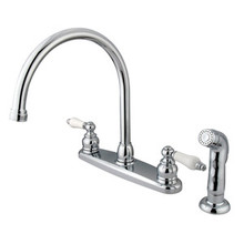 Kingston Brass Two Handle Goose Neck Kitchen Faucet & Side Spray - Polished Chrome KB721SP