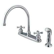 Kingston Brass Two Handle Goose Neck Kitchen Faucet & Side Spray - Polished Chrome