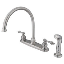 Kingston Brass Two Handle Goose Neck Kitchen Faucet & Non-Metallic Side Spray - Satin Nickel