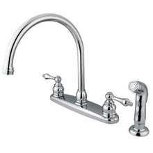 Kingston Brass Two Handle Goose Neck Kitchen Faucet & Non-Metallic Side Spray - Polished Chrome