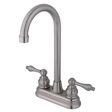 "Kingston Brass Two Handle 4"" Centerset High-Arch Bar Faucet - Satin Nickel KB498AL"