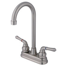 "Kingston Brass Two Handle 4"" Centerset High-Arch Bar Faucet - Satin Nickel"
