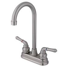 "Kingston Brass Two Handle 4"" Centerset High-Arch Bar Faucet - Satin Nickel"