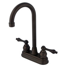 "Kingston Brass Two Handle 4"" Centerset High-Arch Bar Faucet - Oil Rubbed Bronze KB495AL"