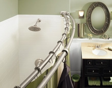 DN 2141BN Double Curved Shower Curtain Rod - 5 foot - Brushed Nickel