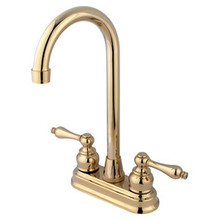 "Kingston Brass Two Handle 4"" Centerset High-Arch Bar Faucet - Polished Brass KB492AL"