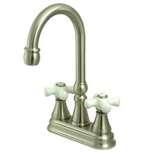 "Kingston Brass Two Handle 4"" Centerset Bar Faucet without Pop-Up Rod - Satin Nickel KS2498PX"
